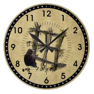 Black Crow & Fence- Round Wall Clock