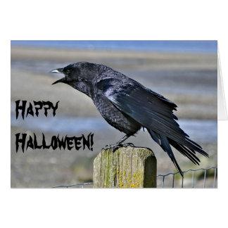 Black crow halloween greeting card