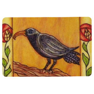 Black Crow on Branch Red Yellow Abstract Flowers Floor Mat
