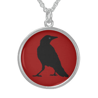 Black Crow on Dark Red Round Pendant Necklace