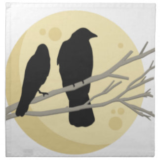 Black Crow on Tree Branch Napkin