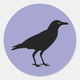 Black Crow Purple Halloween Classic Round Sticker