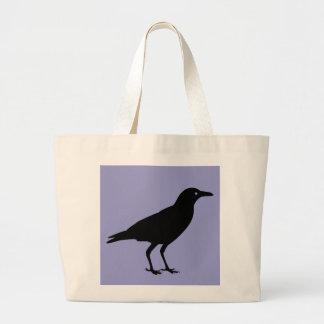 Black Crow Purple Halloween Trick or Treat Candy Jumbo Tote Bag