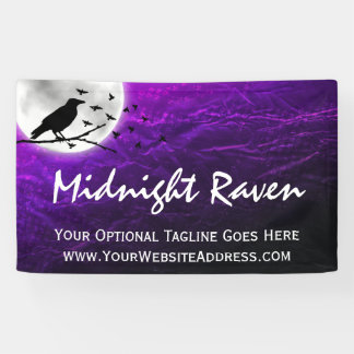 Black Crow Raven Silhouette on Moon Edgy Gothic Banner