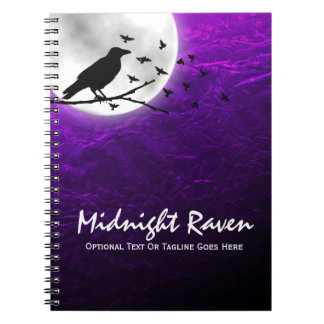 Black Crow Raven Silhouette on Moon Edgy Gothic Notebook
