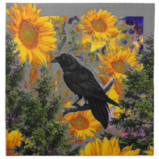 black crow & sunflowers art napkin