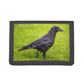 Black crow tri-fold wallet