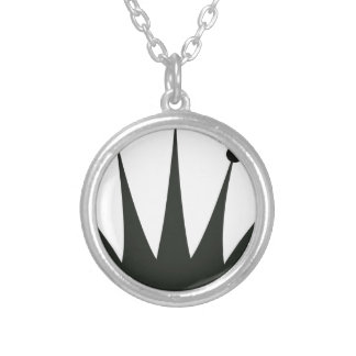 Black Crown Silhouette Silver Plated Necklace