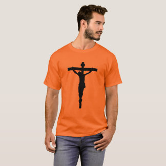 Black Crucifix T-Shirt Christian Catholic Jesus