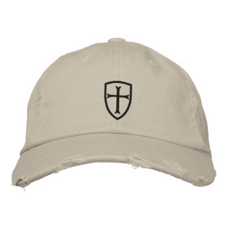 Black Crusader Cross Shield Cap Embroidered Hat