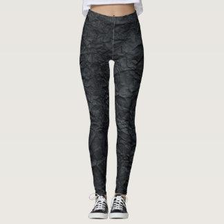 Black Crushed Designed Leggings. Leggings