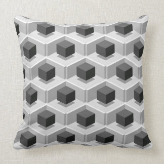 Black Cube Pattern Isometric Cushion