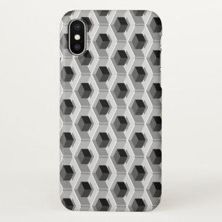 Black Cube Pattern Isometric iPhone X Case