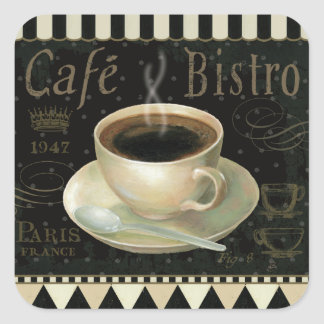 Black Cup of Coffee Square Sticker