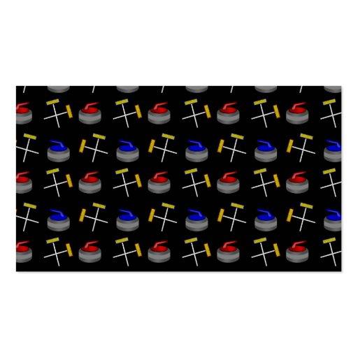 Black curling pattern business cards