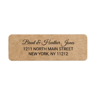 Black Cursive Typography and Recycled Paper Return Address Label