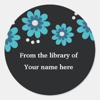 Black Custom Bookplates - Blue Flowers Round Stickers