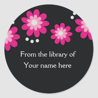 Black Custom Bookplates - Pink Flowers Round Sticker
