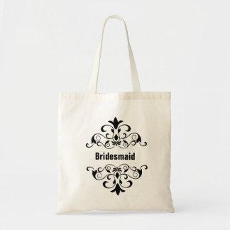Black Custom Bridesmaid Wedding Tote Bag