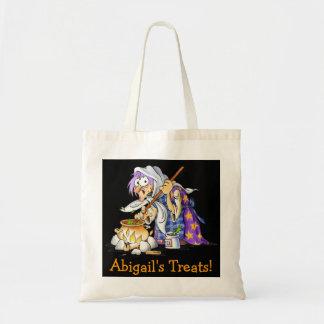 Black Custom Halloween Treat Bags - Purple Witch