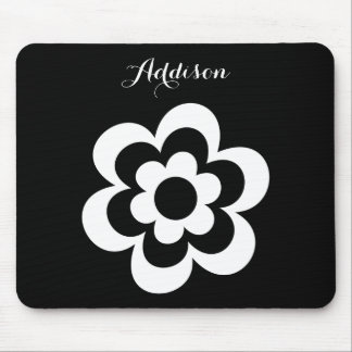 Black Custom Mouse Pads With White Flower