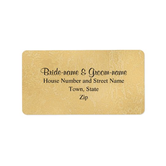 Black Custom Text on Tan Colour Abstract, Wedding Label