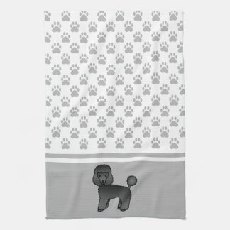 Black Cute Toy Poodle Dog And Grey Paws Pattern Tea Towel