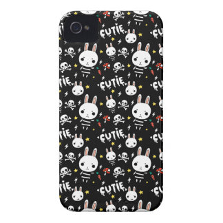 Black Cutie Bunny Pattern Blackberry Cover iPhone 4 Cases