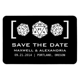Black D20 Dice Gamer Save the Date Magnet
