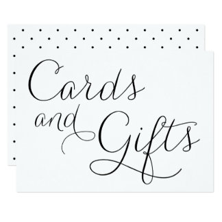 Black Dainty Script Wedding Cards and Gifts Sign