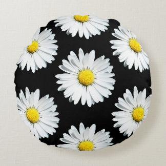 Black Daisies Flower Round Pillow