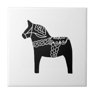 Black Dala Horse Small Square Tile