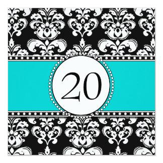 Black Damask 20th Birthday Invitations Aqua Blue