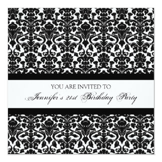 Black Damask 21st Birthday Party Invitations