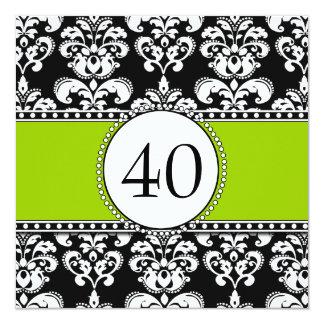 Black Damask 40th Birthday Invitations Green