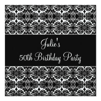 Black Damask 50th Birthday Party Invitation 50th