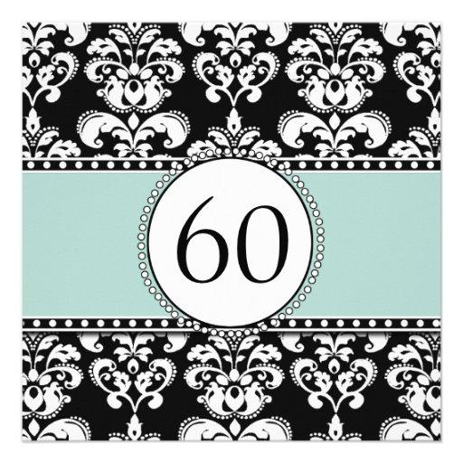 Black Damask 60th Birthday Invitation | Mint Green