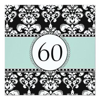 "Black Damask 60th Birthday Invitation | Mint Green 5.25"" Square Invitation Card"