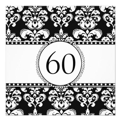 Black Damask 60th Birthday Invitation | White
