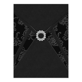 Black Damask All Occasion Party Invitations
