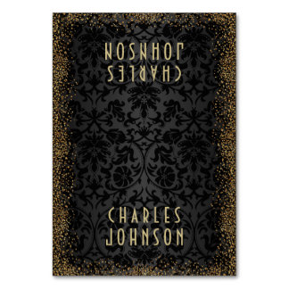 Black Damask and Gold Confetti Glit  - Place Cards Table Cards