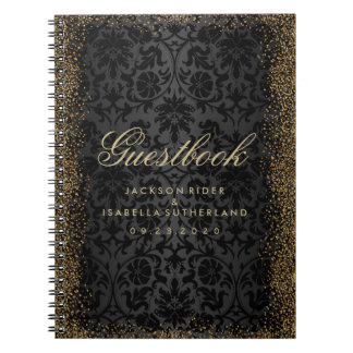 Black Damask and Gold Confetti Glitter - Guestbook Notebooks