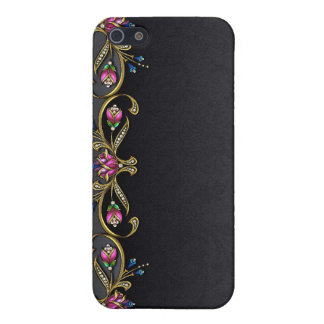 Black Damask and Jewels iPhone 4G Case iPhone 5/5S Cases