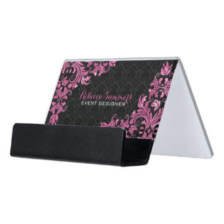 Black Damask And Metallic Pink Lace Desk Business Card Holder