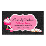 Black Damask and Pink Sweets Bakery Business Card