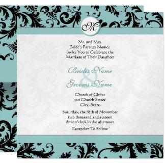 Black Damask Aqua Pool Blue Wedding Invitation