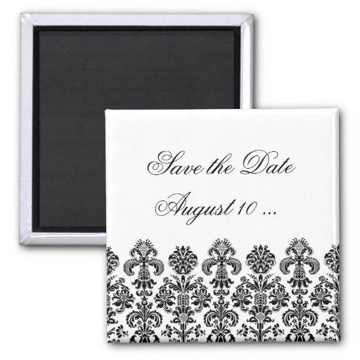 Black Damask Background for the DIY bride Refrigerator Magnets