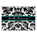 Black damask Be my bridesmaid card