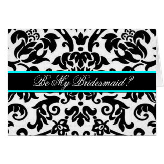 Black damask Be my bridesmaid card