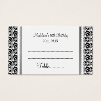 Black Damask Birthday Table Place Setting Cards
